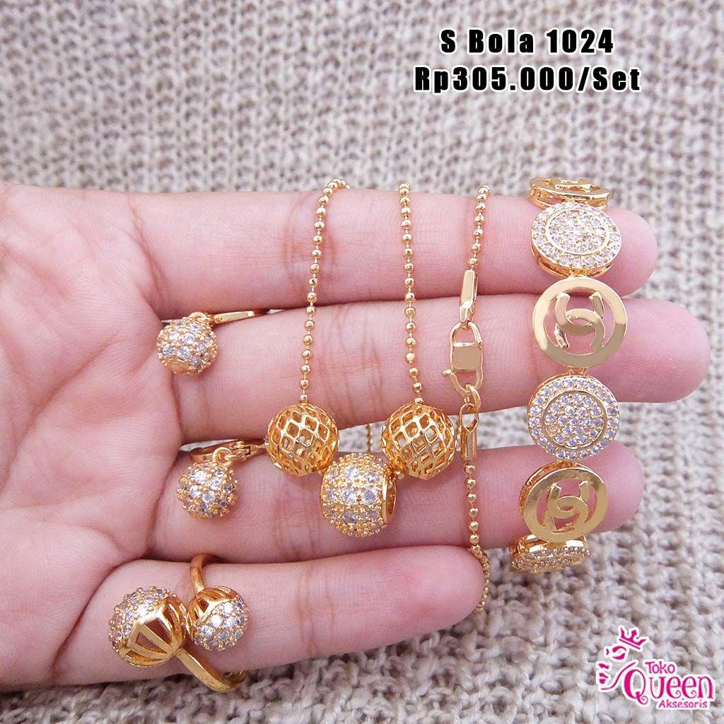 Perhiasan set emas permata zircon Bola A Pemesanan hubungi ...