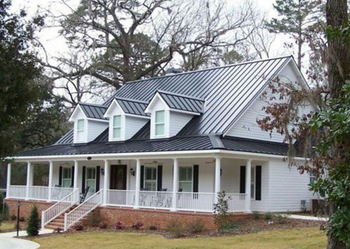 Best Dark Tin Roof On A White Farm House With Black Shutters 400 x 300