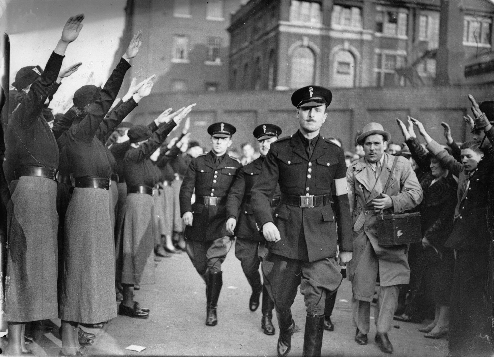 Sir Oswald Mosley and supporters at a British Union of Fascists ...