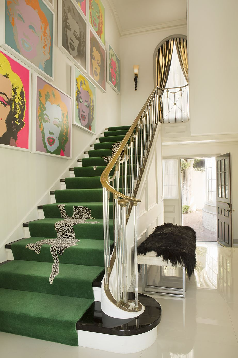 Best Green Stair Runner Lucite Rails Interior Staircase 400 x 300
