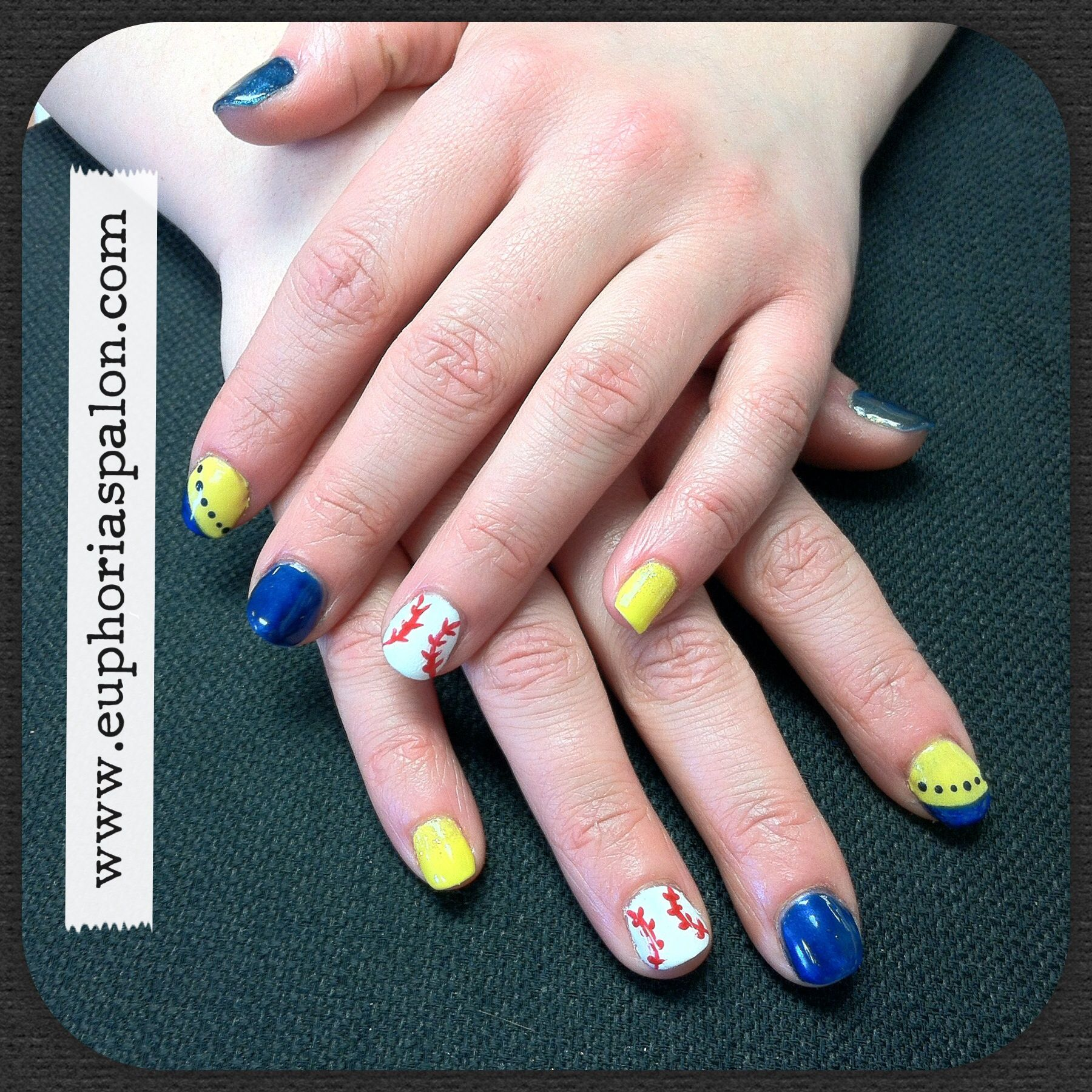Milwaukee Brewers Nails Baseball Blue & Yellow
