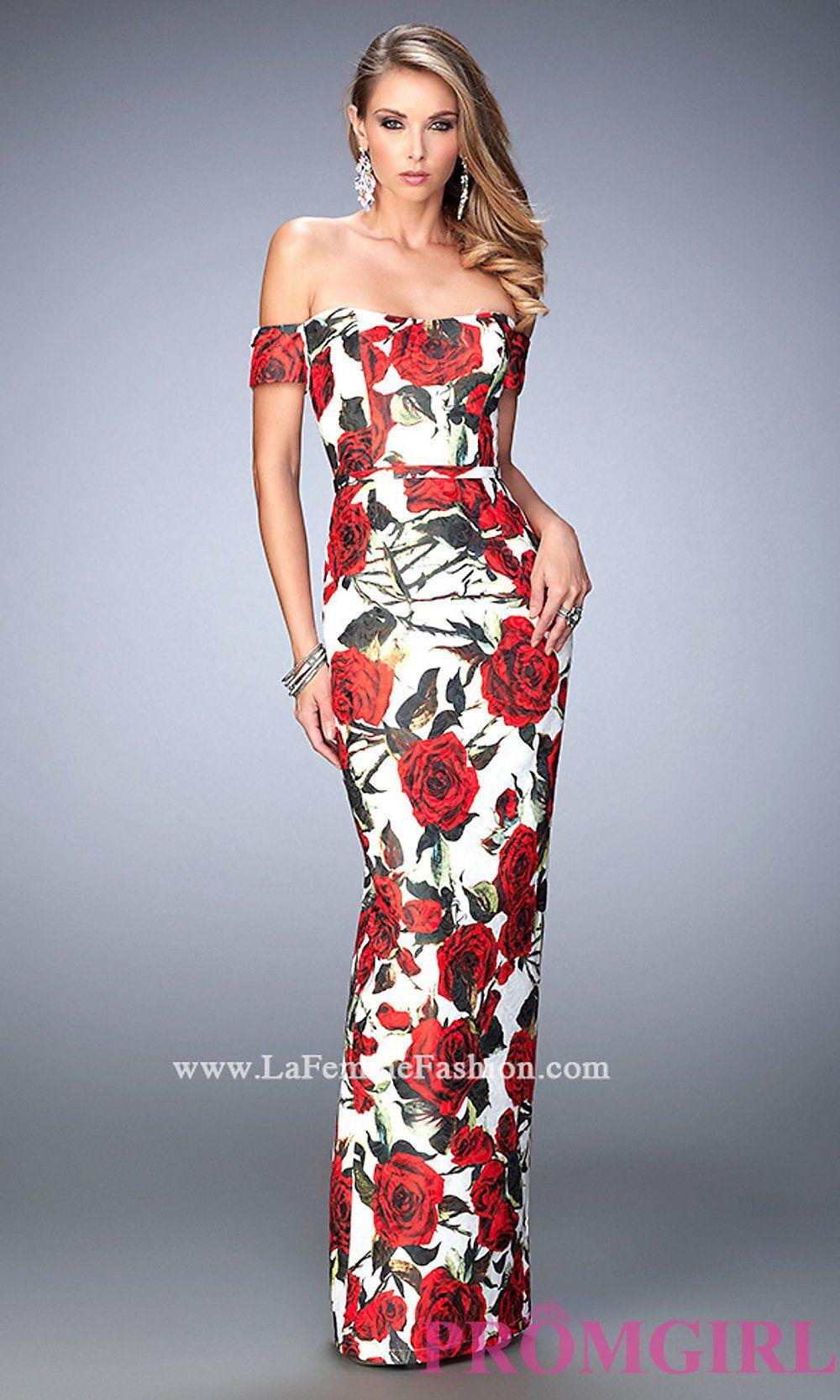 3b3043db15 Off the Shoulder Floral Print La Femme Dress Style  LF-22671