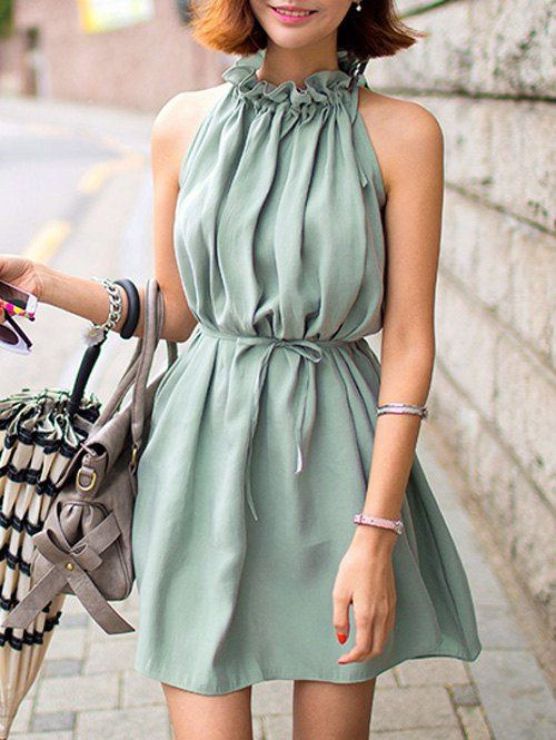 e068f4b211d Cute Ruffle Collar Belted Solid Color Dress For Women
