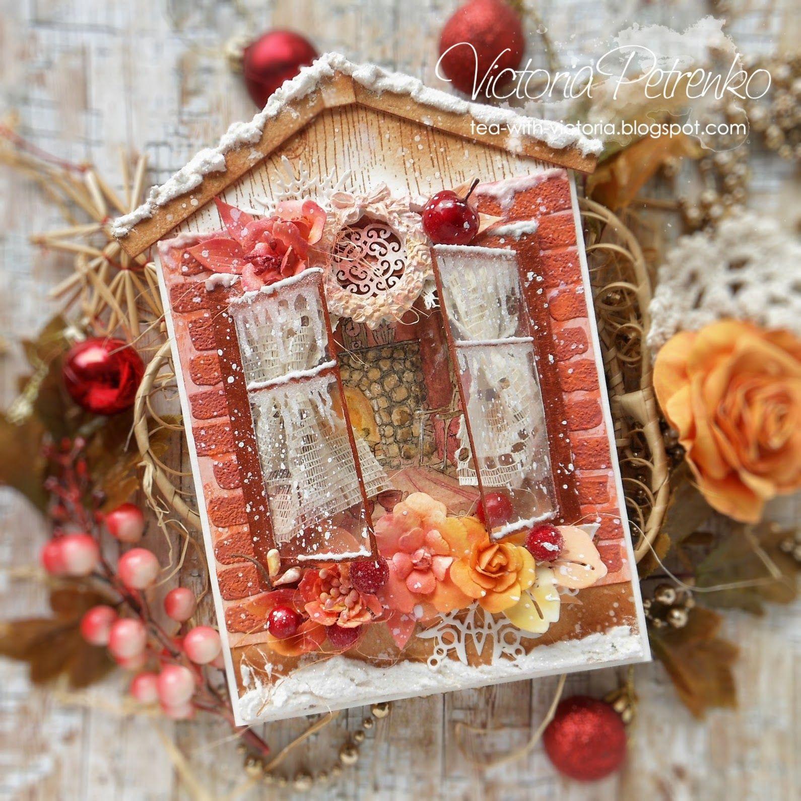 Как сделать открытку с окошком к новому году