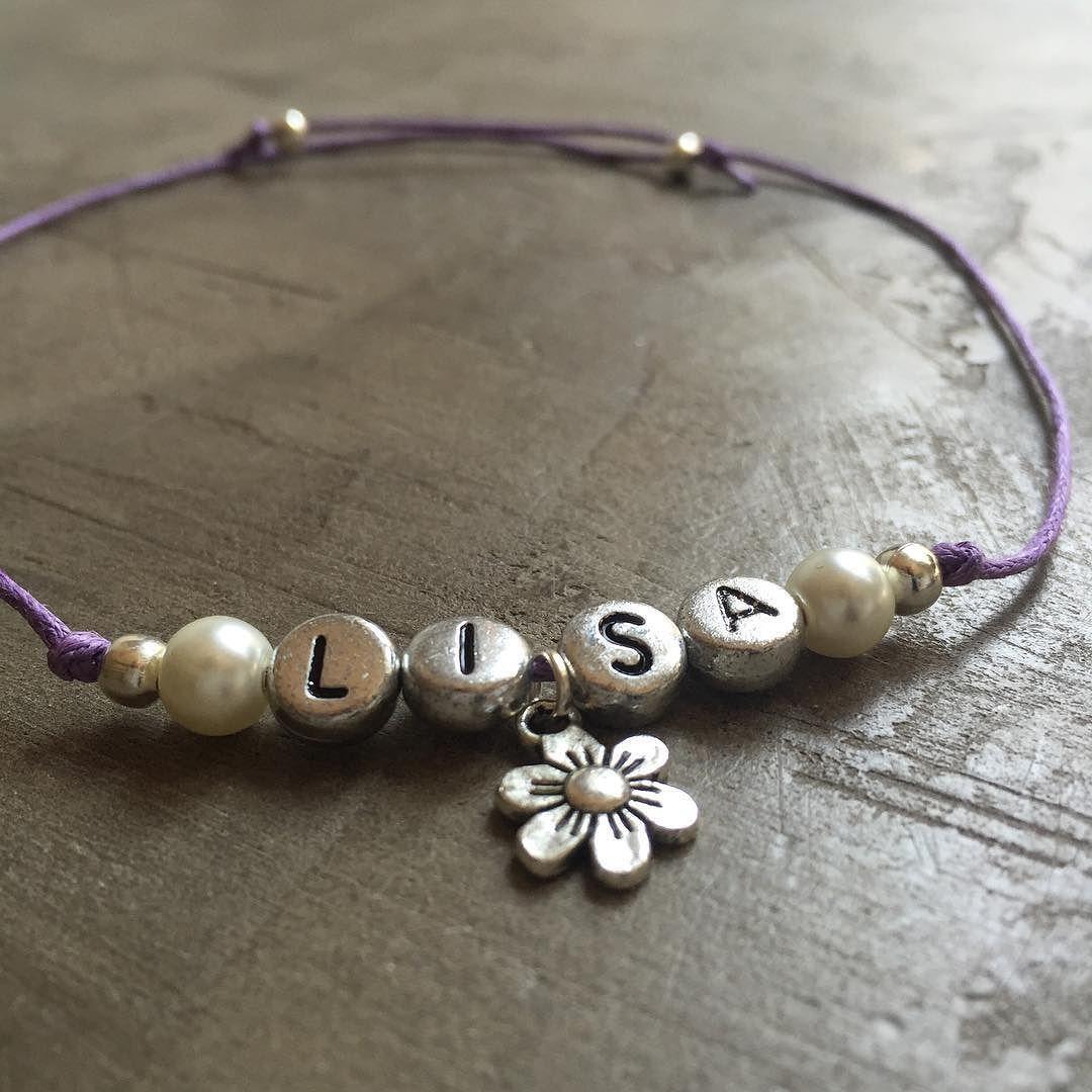 Pretty Flower Girl Name Bracelet Pick Your Own Color