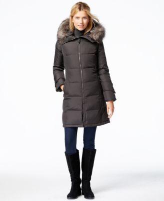 Calvin Klein Faux-Fur-Trim Puffer Down Jacket | macys.com | winter ...
