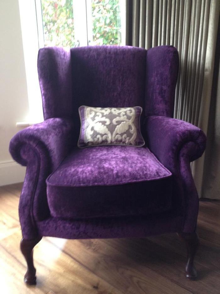purple velvet wingback chair | Dream Office | Pinterest