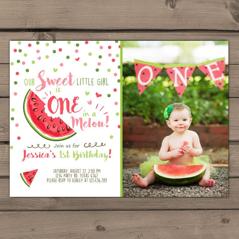 Watermelon Birthday Invitation One In A Melon First Etsy 30