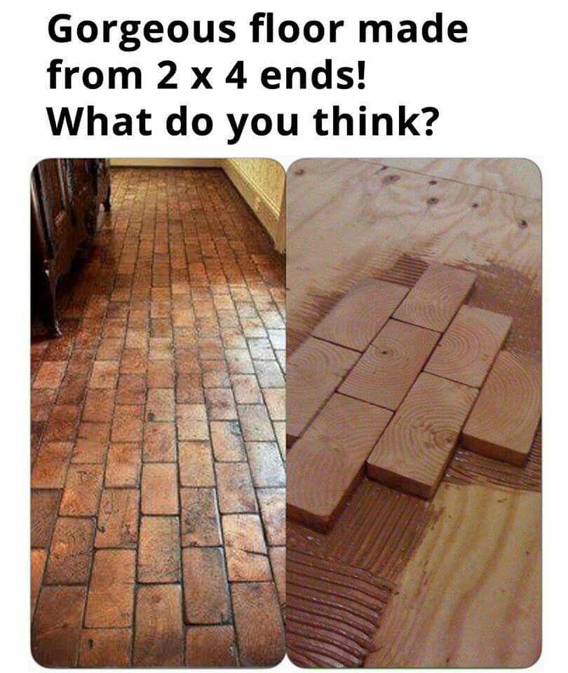 Floor Made From 2 X 4 Ends Diy Wood Floors Fake Brick