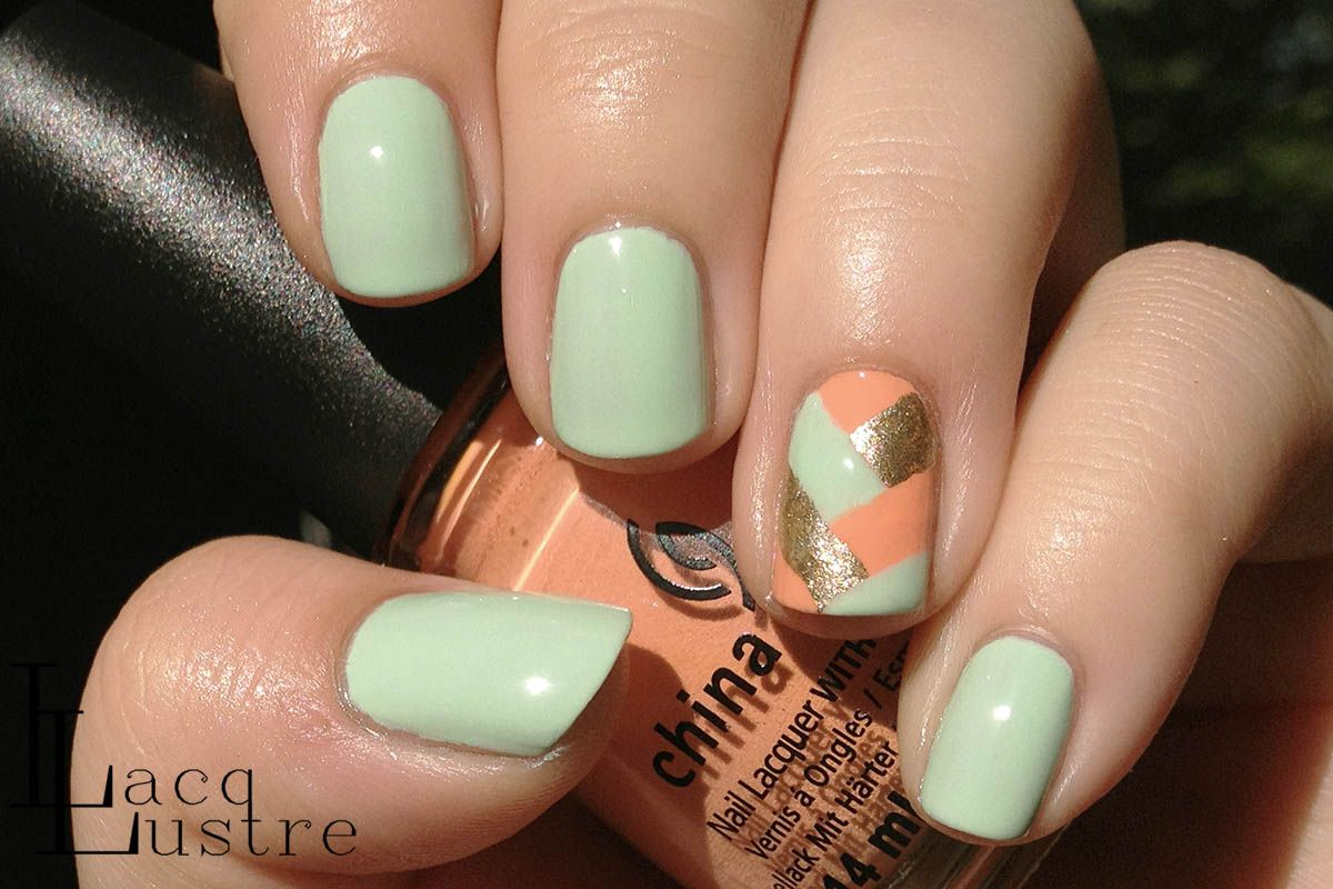 Lacqlustre Mint Coral And Gold Herringbone Nail Art Nails