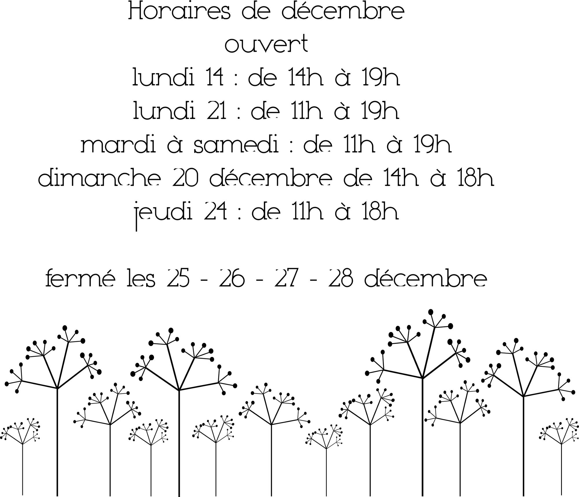 La boutique 72 rue de la Fontaine Blanche à Landerneau, est ouverte sans interruption jusqu'au 24 décembre. Et fermée du 25 au 28 décembre. Joyeuses Fêtes