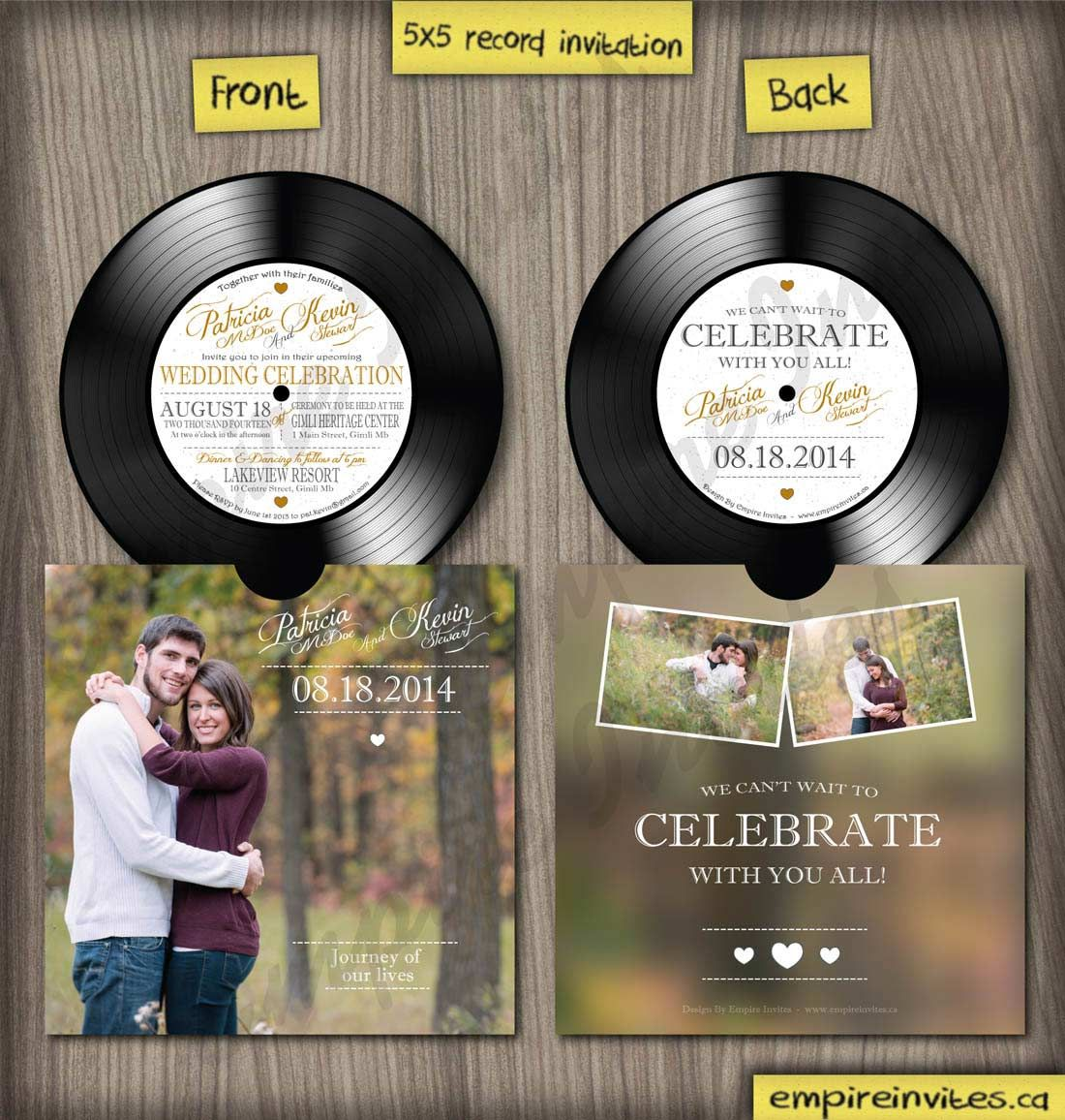 Custom vinyl record music wedding invitations From Winnipeg – Custom Wedding Invitations Canada