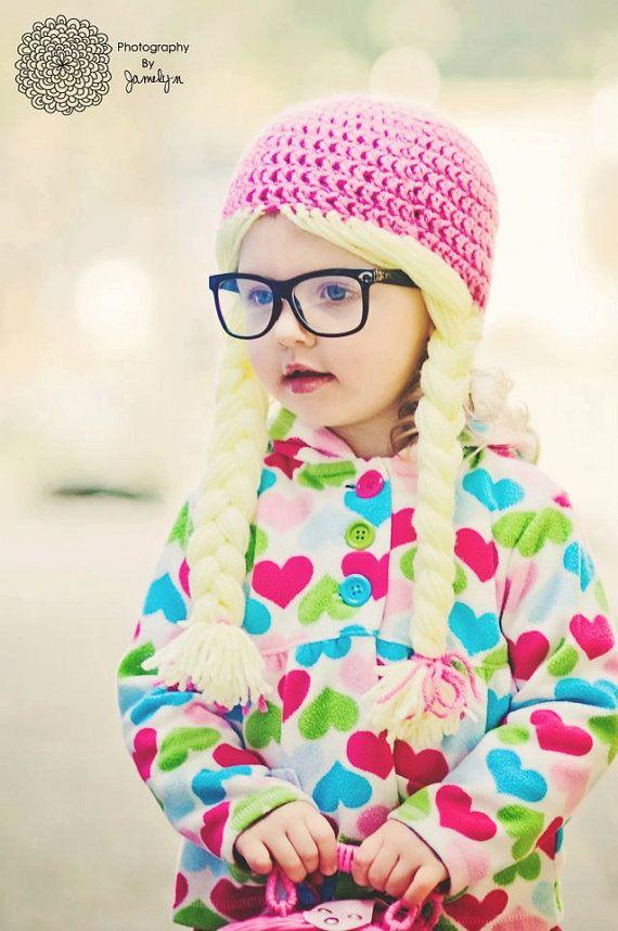 262567e9cd5 Girl Hat Rapunzel Hat Hair Hat Tangeld Princess Hat Photography Prop  Newborn Girl Toddler Braids Pink Child. via Etsy.