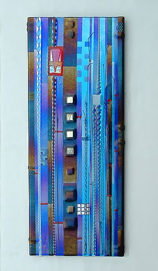 Blue sky panel in cobalt and aqua mark ditzler art glass wall art