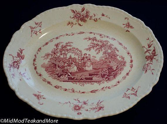 FLASH SALE Mason\u0027s Ironstone China \ Watteau\  Pink Serving Platter circa 1920-1923 made in England & FLASH SALE Mason\u0027s Ironstone China \