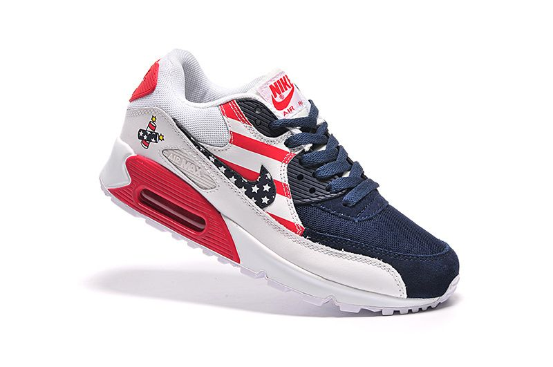 abb941e4ff0209 Nike Air Max 90 Limited Edition Men Pattern Navy Blue Running Shoes ...