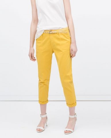 Pantalon chino jaune Zara - ClicknDress