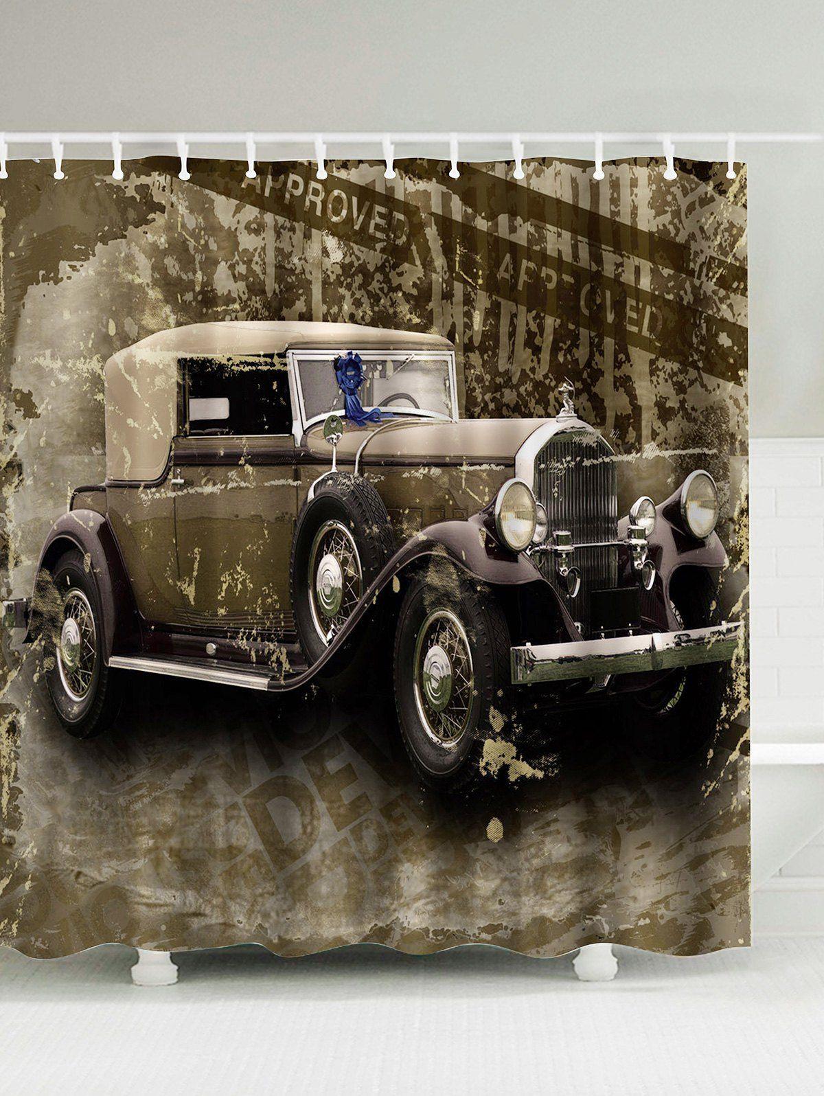 Waterproof Vintage Car Shower Curtain   Cars and Vintage