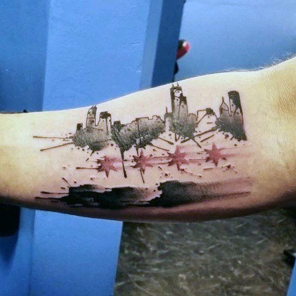 50 Chicago Flag Tattoo Designs For Men Illinois Ink Ideas Chicago Flag Tattoo Chicago Skyline Tattoo Tattoo Designs Men