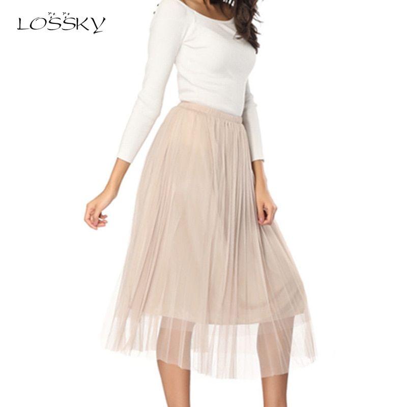 39a0f297b47 Tulle Skirts Womens Adult Tulle Skirt Elastic Pleated Midi Skirt New Elastic  Summer Women Vintage Black Mesh ...