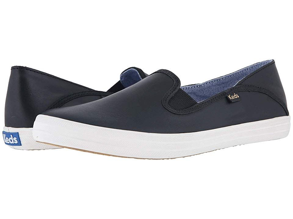 Keds Crashback Leather (Black) Women's Slip on  Shoes. Casual style with a polished twist! Leather upper. Easy slip-on style. Collapsible back panel for two different wearing styles. Soft breathable lining. Cushioned footbed. Flexible rubber outsole. Care instructions: spot wash  air dry only. Measurements: Weight: 7 oz Product measurements were taken using size 7.5  width B - Medium. Please note that measurements may vary by  #Keds #Shoes #ClosedFootwear #SliponCasual #Black