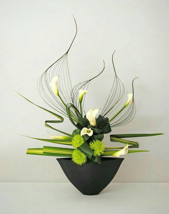 Stunning yet simple green & white floral arrangement. | Flowers ...