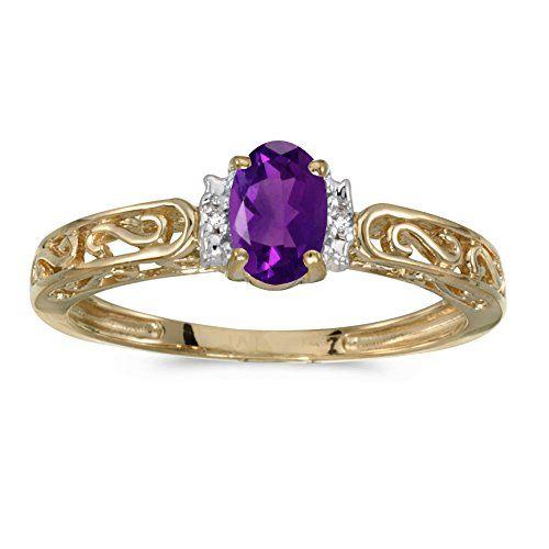FB Jewels 10k White Gold Genuine Birthstone Solitaire Oval Gemstone And Diamond Wedding Engagement Statement Ring