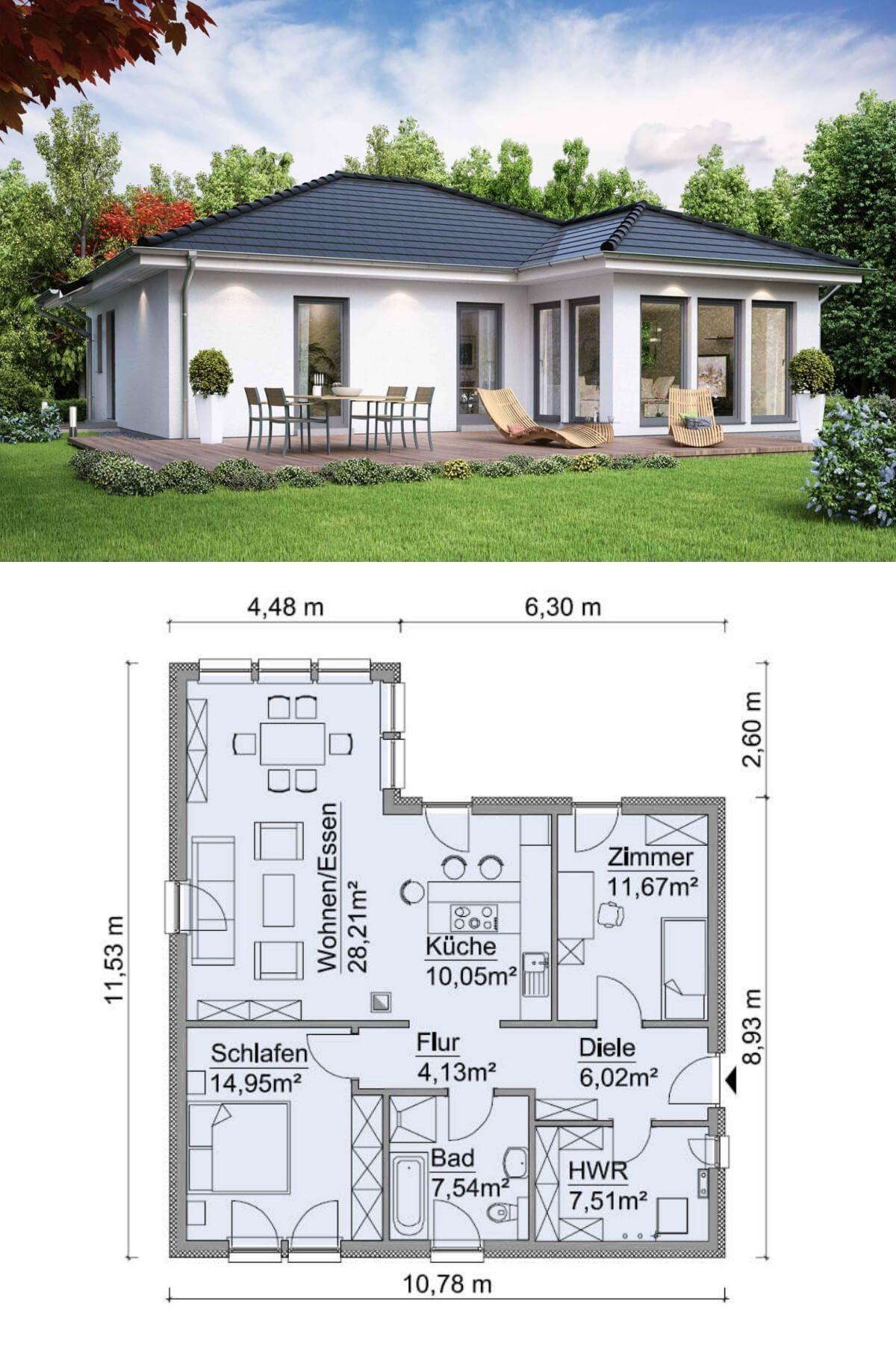 Bungalow Haus Modern Ebenerdig Mit Walmdach Architektur