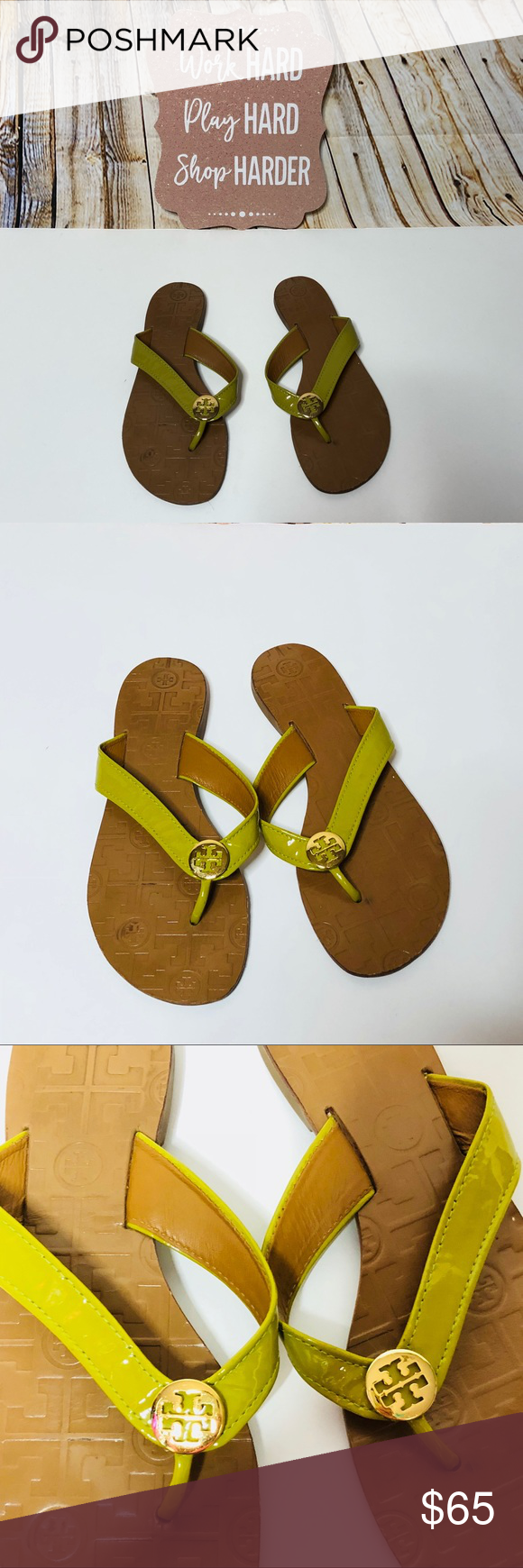 eedbf9166641 Tory Burch Leather Logo Thong Sandals Flip flops 7 Tory Burch Leather Olive  Green Logo Thong Sandals Flip flops Size 7. These are are in great preowned  ...