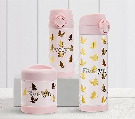 Mackenzie Pink Gold Foil Butterflies Kids Water Bottles