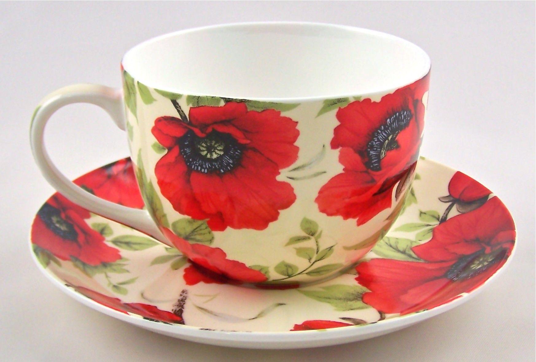 English Fine Bone China Teacup Bright Red Poppy Chintz