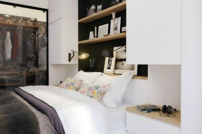 Kleines Schlafzimmer Regale Nische Schwarz Weiss Glas Schuebetür  Kleiderschrank