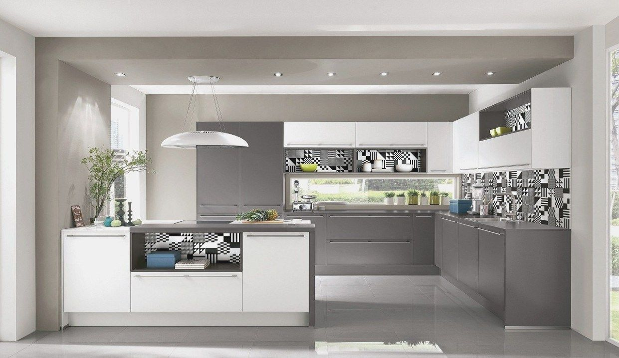 Weisse Kuche Graue Arbeitsplatte Kuche Weiss Grau Moderne Kuche Einbaukuche