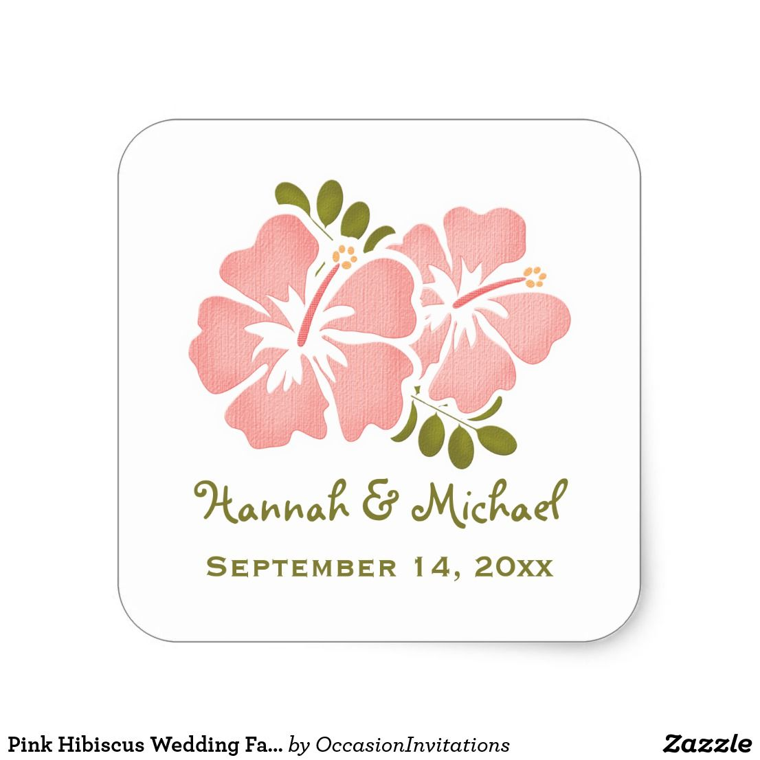 Pink Hibiscus Wedding Favor Sticker Seal | Favors, Weddings and Wedding