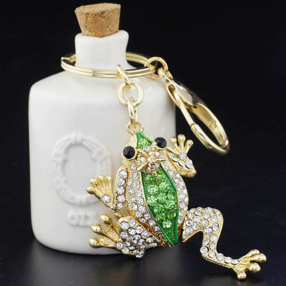 Unique Crown Frog Keyring Keychain Fashion Metal HandBag Pendant Purse Bag  Buckle key chains holder Accessories Gift K009 9165cd351