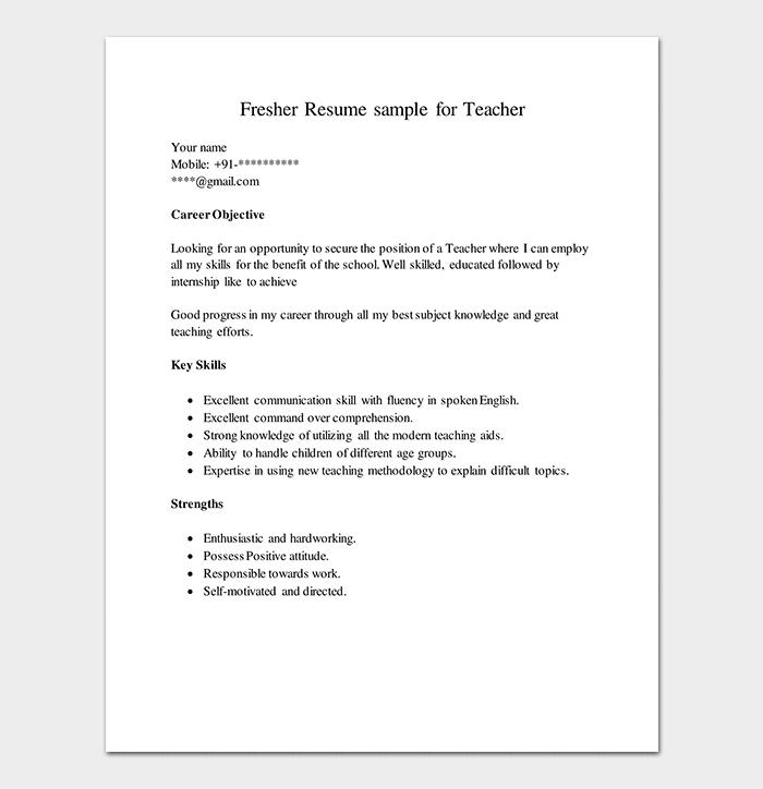 Resume Samples For Freshers Resume Format For Freshers Resume Template Unique Resume Template