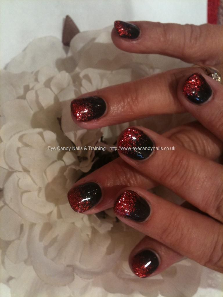 Coloured acrylic nail art black with red glitter fade | UGA GAMEDAY ...