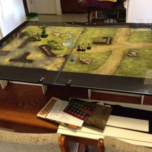 Table Top Gaming Table Made Of Foam Board And Felt With A Plexiglass Top.  Lightweight