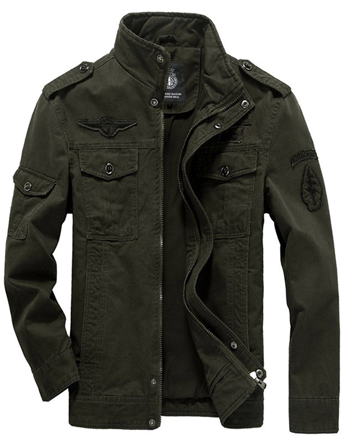 Men S Cotton Lightweight Military Casual Jacket Windbreaker Wind Trench Coat Bomber Jacket Green Cv187eidnry Army Clothes Mens Jackets Casual Military Style Jackets