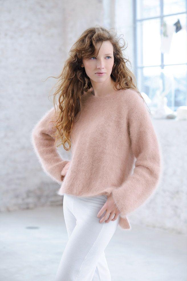 Tricoter un pull angora : le joli modèle facile de Phildar #patrontricotgratuit