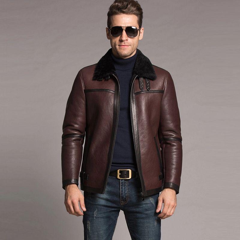558.4 Men s Shearling Jacket Brown Short Leather Coat Flight Jacket  Genuine Leather Jacket For Men Lambskin Motorcycle Fur Outerwear 2388bb2f2