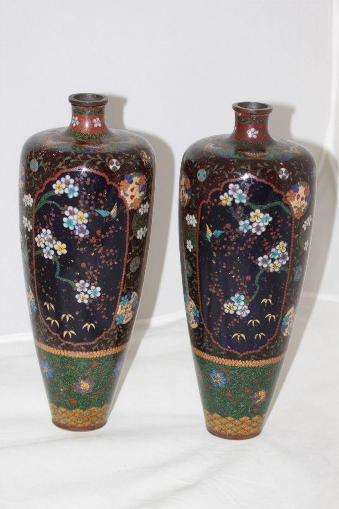 Pair Of Japanese Meiji Period Cloisonne Vases Ebay Vases