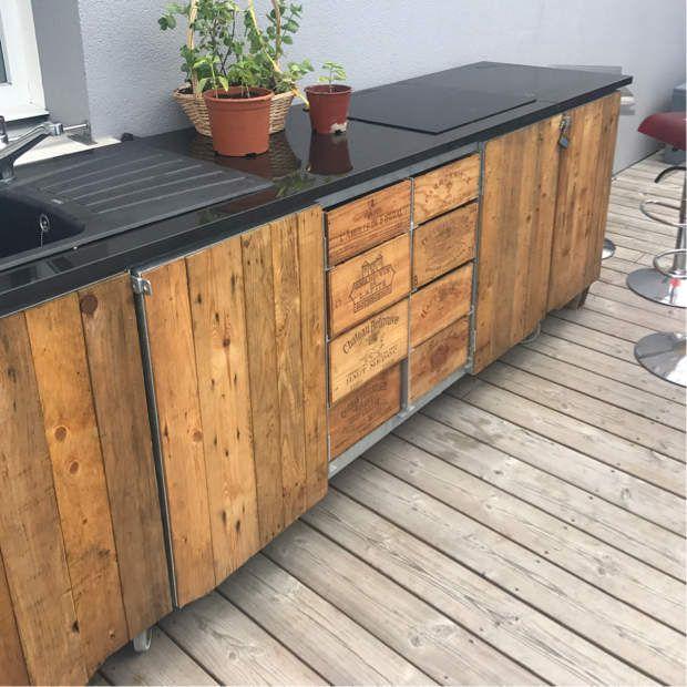 Construction du0027une cuisine extérieure du0027été en bois de palette - construction d une terrasse bois