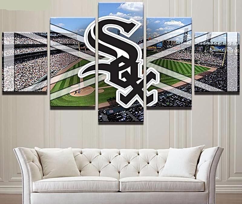 Chicago White Sox 5 Panel Canvas For Mancave Mlb Baseball Wall Decor Home Wall Decor Man Cave