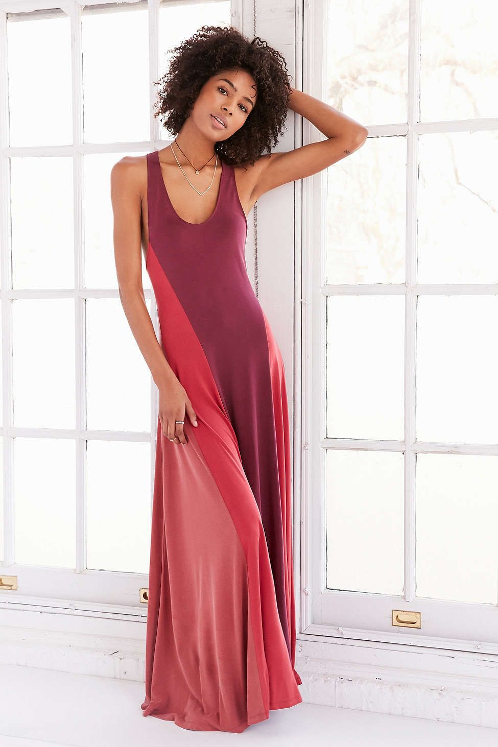 Silence Noise Colorblock Cupro Maxi Dress Urban Outfitters Urban Dresses Womens Maxi Dresses Style Maxi Dress
