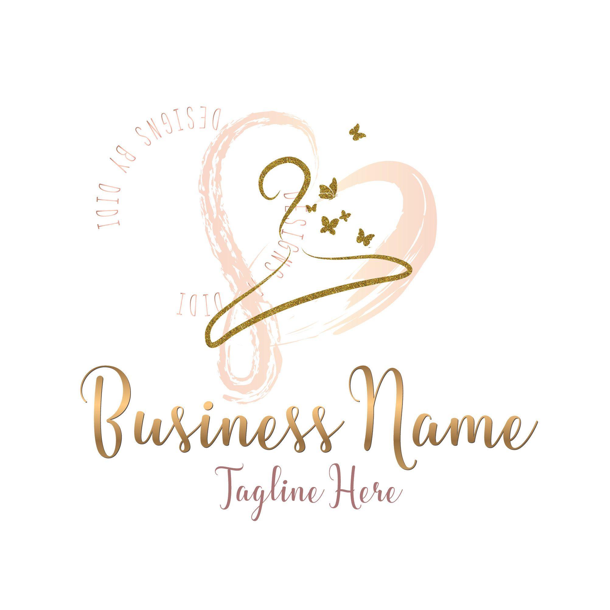 Custom Logo Design clothes hanger butterfly Logo