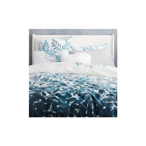 West Elm 400-Thread-Count Organic Watercolor Fern Sateen Duvet Cover,... ($99) ❤ liked on Polyvore featuring home, bed & bath, bedding, duvet covers, blue, floral pillow shams, blue twin bedding, blue shams, west elm and twin bed linens