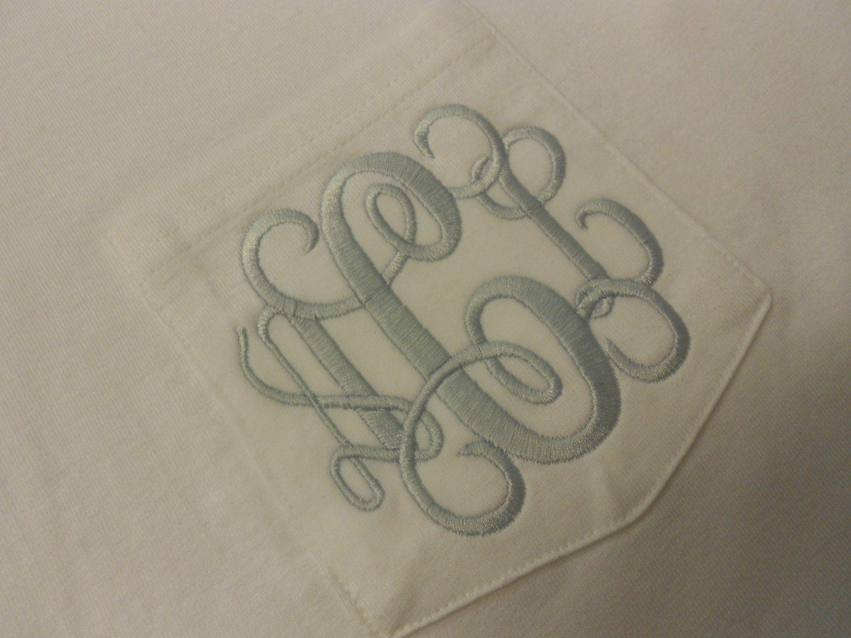 Monogram Short Sleeve Pocket Tee  Font Shown INTERLOCKING. $19.99, via Etsy.