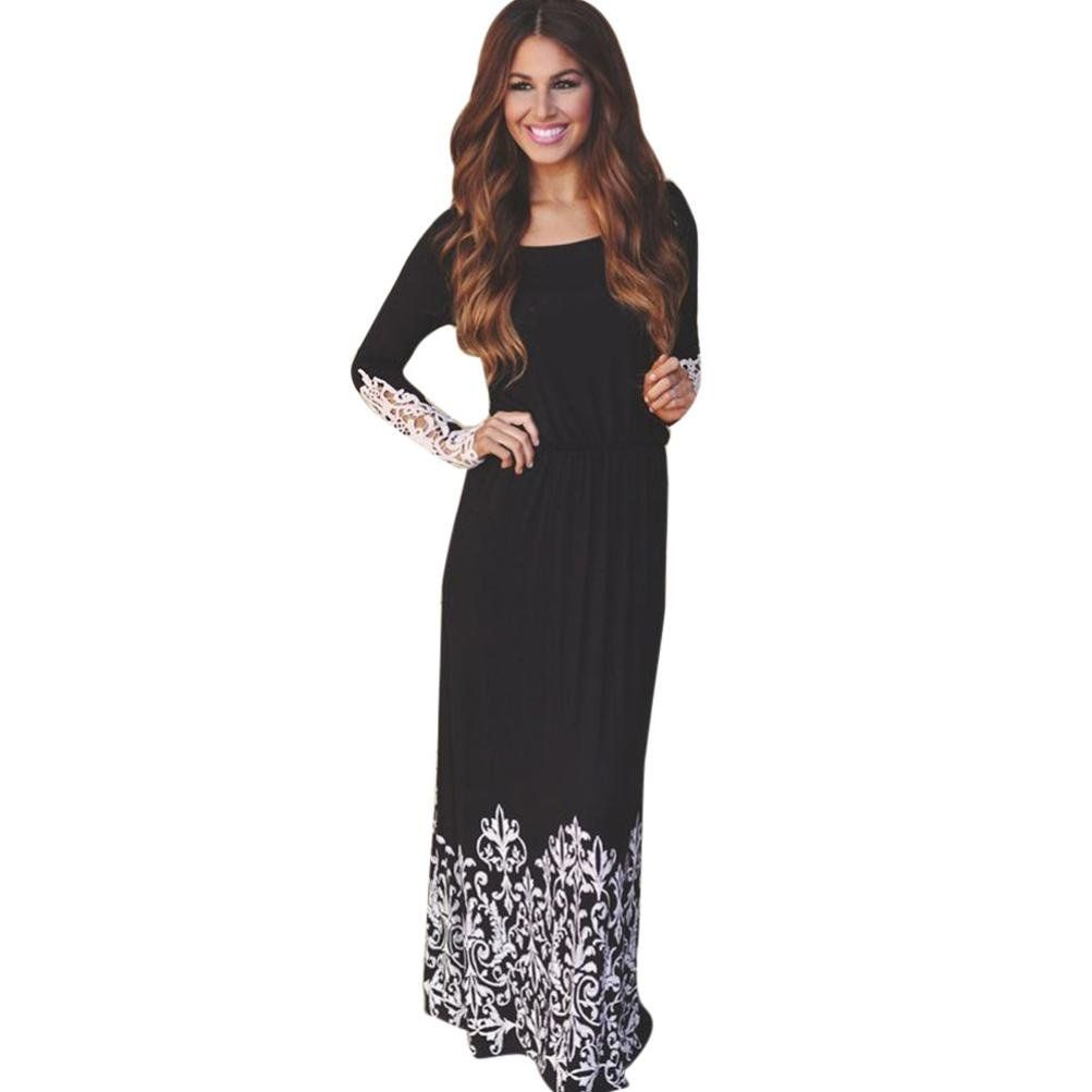 Gbsell fashion women lady lace long sleeve party evening maxi long