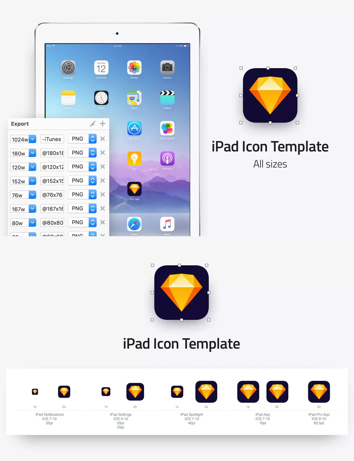iPad icon template All sizes by nelson_14 on Ipad